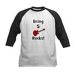Being 5 Rocks! Guitar Kids Baseball Jersey