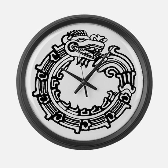 Aztec Ouroboros Symbol Large Wall Clock