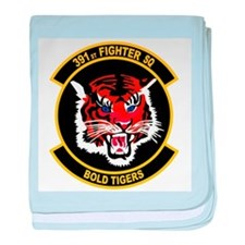 391st Fighter Squadron Bold T baby blanket