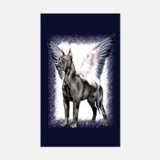 Great Dane Angel Black Rectangle Decal