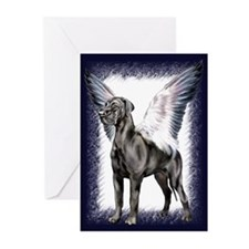 Great Dane Angel Black UC Greeting Cards (Pk of 10