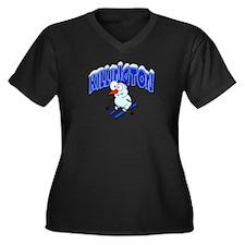 Killington Snowman Women's Plus Size V-Neck Dark T