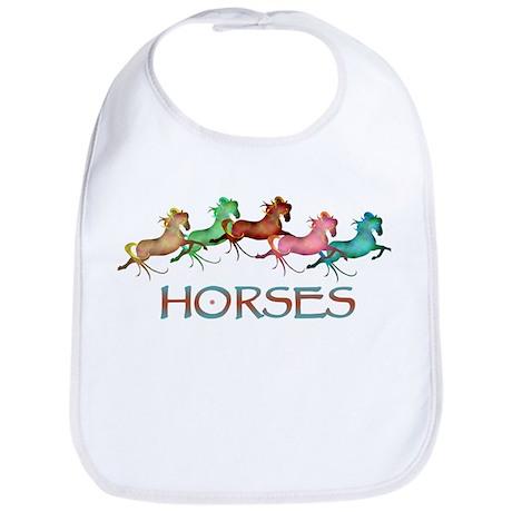 many leaping horses Bib