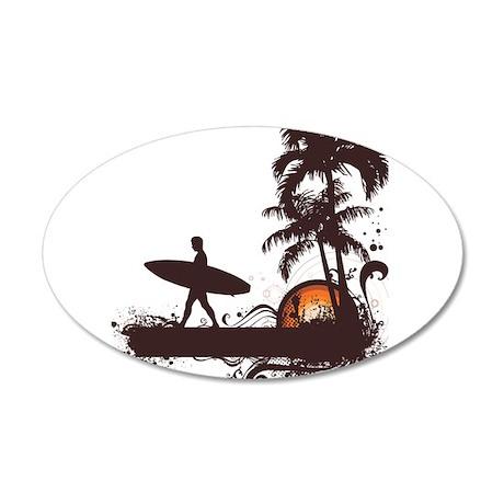 Surfing 38.5 x 24.5 Oval Wall Peel