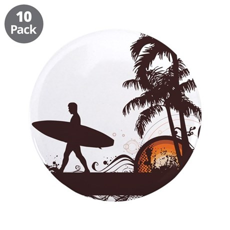 """Surfing 3.5"""" Button (10 pack)"""