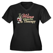 Wine Is Cheaper Than Therapy Women's Plus Size V-N