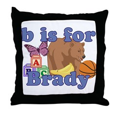 B is for Brady Throw Pillow
