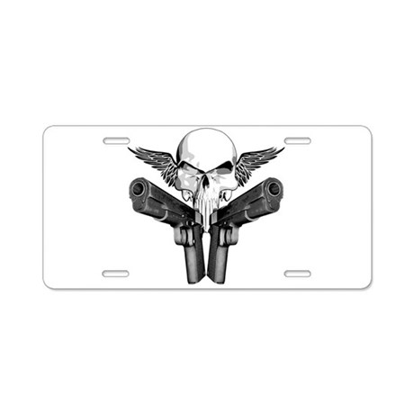 1911 Skull Aluminum License Plate