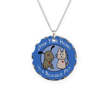 Open Your Heart - Rescued Pet Necklace Circle Char