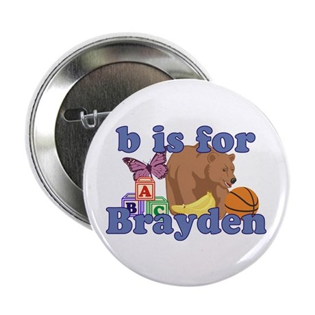 """B is for Brayden 2.25"""" Button (10 pack)"""