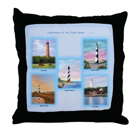 Lighthouses Of The Outer Banks Throw Pillow