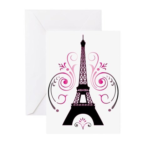 Eiffel Tower Gradient Sw Greeting Cards (Pk of 20)