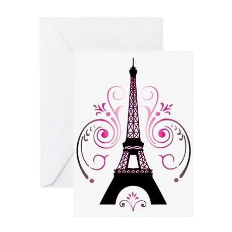 Eiffel Tower Gradient Swirl Greeting Card