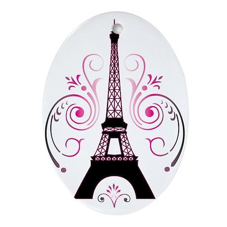 Eiffel Tower Gradient Swirl Ornament (Oval)
