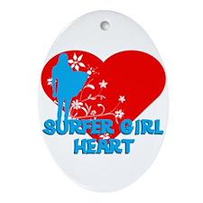 Surfer Girl Ornament (Oval)