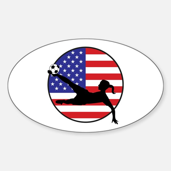 US Women's Soccer Sticker (Oval)