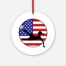 US Women's Soccer Ornament (Round)