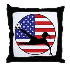 US Women's Soccer Throw Pillow