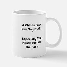 Childs Face Black Mugs