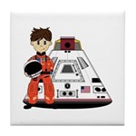 Spaceman and Space Capsule Tile Coaster