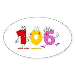 Happy Number 106 Sticker (Oval 50 pk)