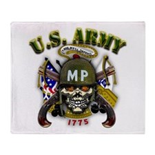 US Army MP Skull Military Pol Throw Blanket