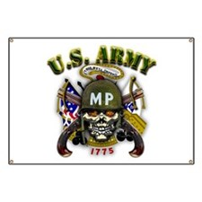 US Army MP Skull Military Pol Banner