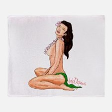 Hula Girl Pin-Up Alohi Throw Blanket