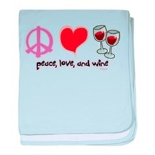 Peace, Love, and Wine baby blanket