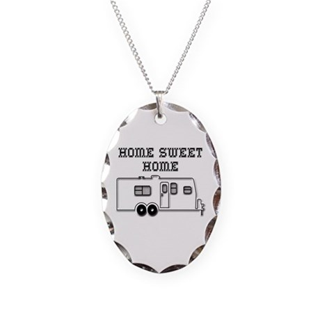 Home Sweet Home Travel Trailer Necklace Oval Charm