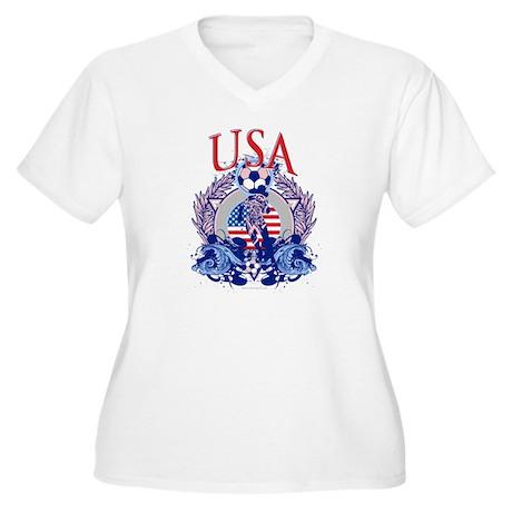 USA Women's Soccer Women's Plus Size V-Neck T-Shir