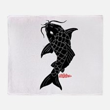 Large Black Koi Throw Blanket