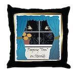 Peeping Tomcat Throw Pillow