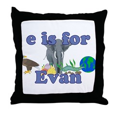 E is for Evan Throw Pillow