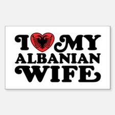 I Love My Albanian Wife Sticker (Rectangle)