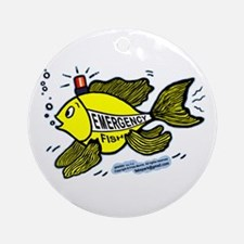 Emergency Fish with Red Light Ornament (Round)