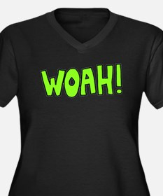 Woah! Women's Plus Size V-Neck Dark T-Shirt