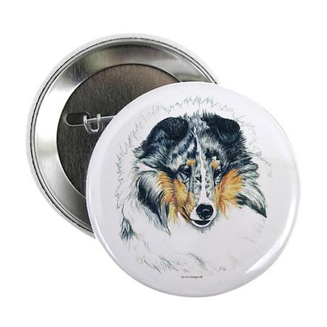 "Blue Merle Shetland Sheepdog 2.25"" Button (10 pack"