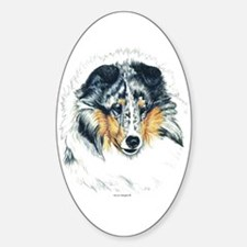Blue Merle Shetland Sheepdog Oval Decal