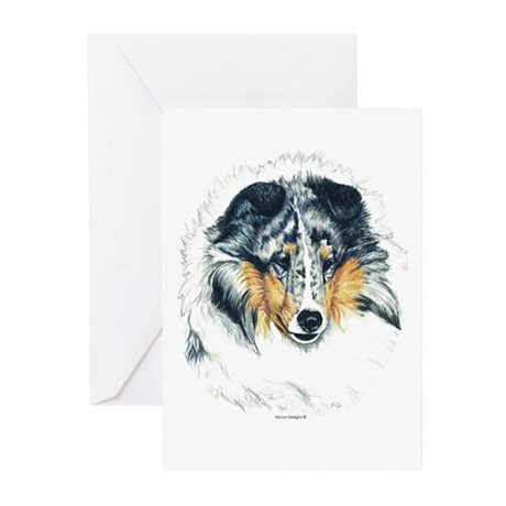 Blue Merle Shetland Sheepdog Greeting Cards (Packa