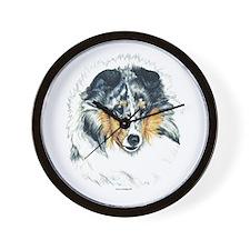 Blue Merle Shetland Sheepdog Wall Clock