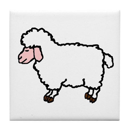 WHITE SHEEP Tile Coaster
