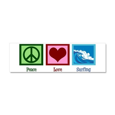 Peace Love Surfing Car Magnet 10 x 3