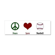 Peace Love Baseball Car Magnet 10 x 3