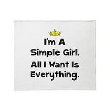 Simple Girl Throw Blanket
