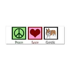 Peace Love Corgis Car Magnet 10 x 3