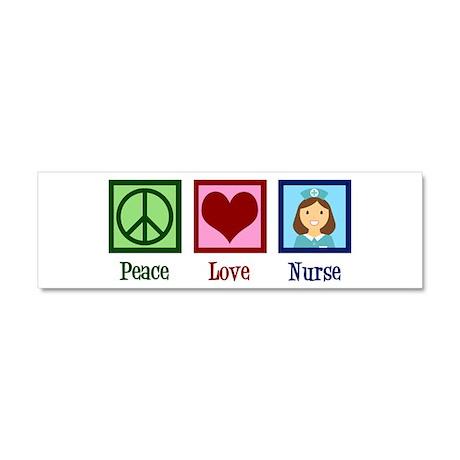 Peace Love Nurse Car Magnet 10 x 3