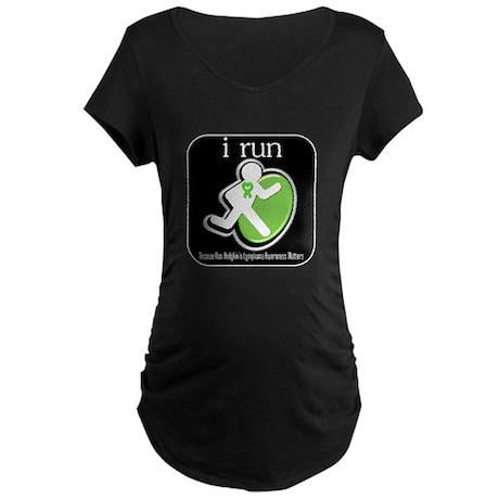 I Run Cancer Awareness Maternity Dark T-Shirt