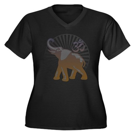 Ganesh Aum Women's Plus Size V-Neck Dark T-Shirt