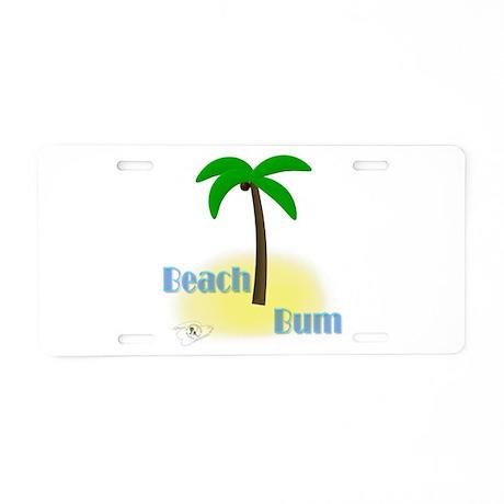 Beach Bum Palm Tree Aluminum License Plate